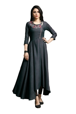 Women'S Purple Color Namo Cotton Designer Multi Embrodiery Work Gown Kurti