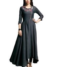 Women'S Purple Color Namo Cotton Designer Multi Embrodiery Work Gown Kurti