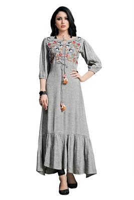 Women'S Grey Color Namo Cotton Designer Multi Embrodiery Work Gown Kurti