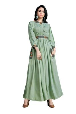 Women'S Sea Green Color Namo Cotton Designer Multi Embrodiery Work Gown Kurti