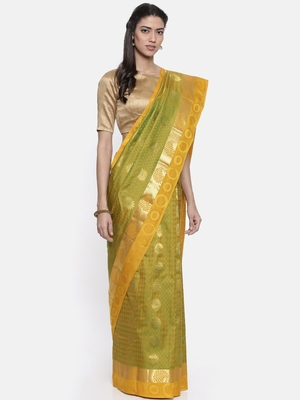 CLASSICATE from the house of The Chennai Silks Women's Green Pure Dharmavaram Silk Saree With Blouse