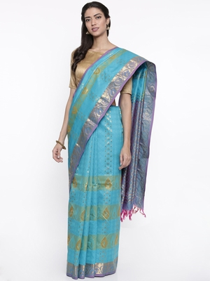 CLASSICATE from the house of The Chennai Silks Women's Blue Pure Dharmavaram Silk Saree With Blouse