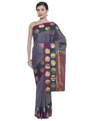 CLASSICATE from the house of The Chennai Silks Women's Grey Pure Kanchipuram Silk Saree With Blouse