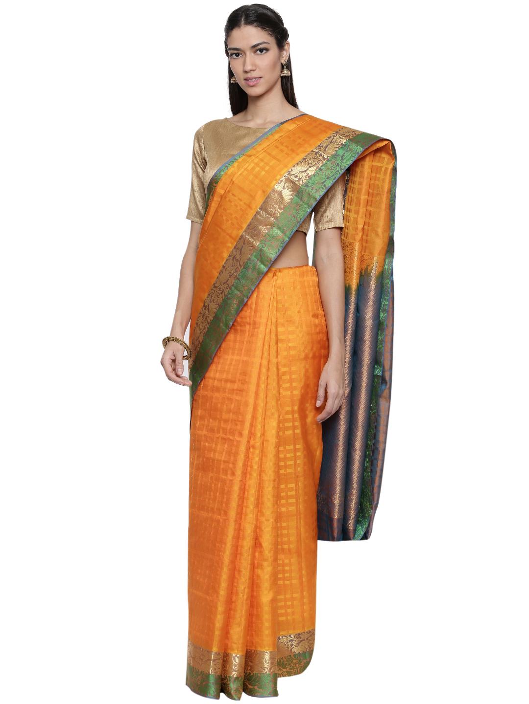 0ba42937c2 CLASSICATE from the house of The Chennai Silks Women's Yellow Pure  Kanchipuram Silk Saree With Blouse - CLASSICATE from the house of The  Chennai Silks - ...