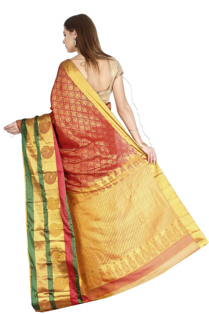 5372fb98d2 ... CLASSICATE from the house of The Chennai Silks Women's Red Pure  Kanchipuram Silk Saree With Blouse ...