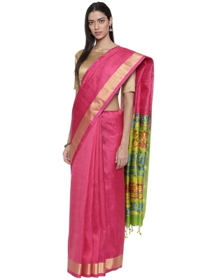 CLASSICATE from the house of The Chennai Silks Women's Pink Pure Kanchipuram Soft Silk Saree With Blouse