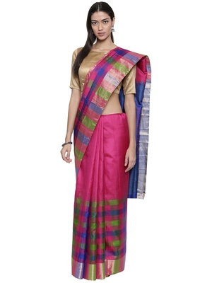 Classicate from the house of the chennai silks women's multicolor pure  kanchipuram soft silk saree with blouse