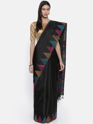 CLASSICATE from the house of The Chennai Silks Women's Black Pure Kanchipuram Soft Silk Saree With Blouse