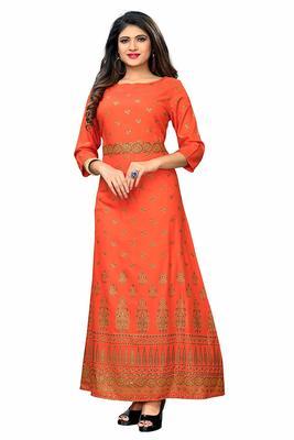 Orange printed cotton poly long kurtis