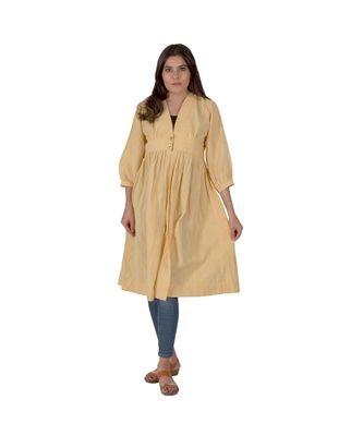 Daffodil Yellow Jacket Style Kurta In Khadi Cotton
