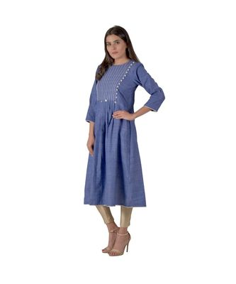 Royal Blue Kurta In Khadi Cotton