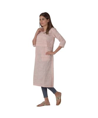 Pastel Pink Kurta In Khadi Cotton