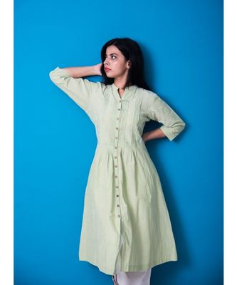Green Front Pleated Geometry Work Khadi Cotton Kurta