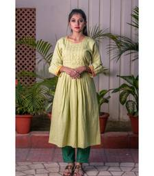 Green Front Pleat Golden Jari Kurta