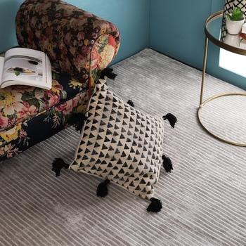 PEQURA Black Cotton Hand Woven Printed Square Cushion Cover