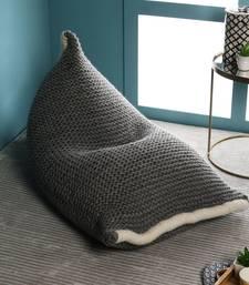 PEQURA Black/White Woollen Hand Knitted Textured Bean Pouf
