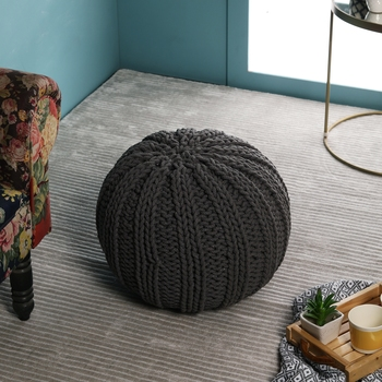PEQURA Off-White Cotton Hand Knitted Textured Round Bean Pouf