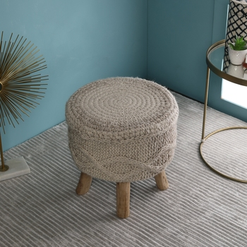 PEQURA Off-white Cotton Hand Knitted Textured Foam Pouf