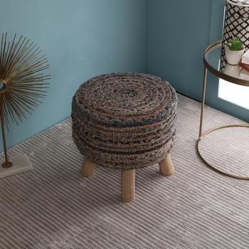PEQURA Beige Jute Hand Knitted Foam Round Textured Pouf