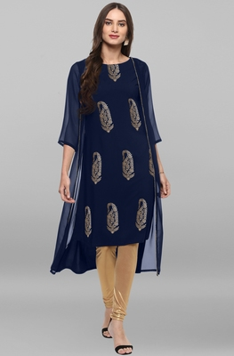 Dark-blue printed crepe kurtas and kurtis