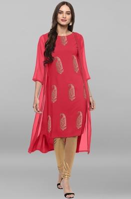 Pink printed crepe kurtas and kurtis