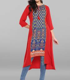 Red printed crepe kurtas and kurtis
