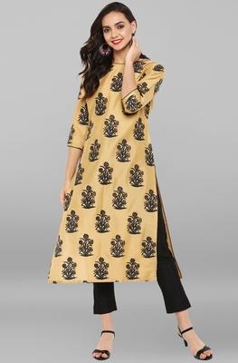 Gold printed art silk ethnic kurta set