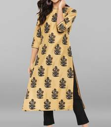 Gold printed art silk ethnic kurta set