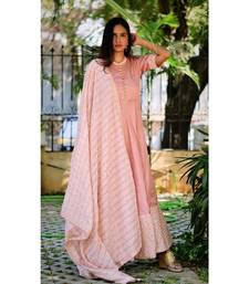 PASTEL PINK GOLD DRESS WITH DUPATTA