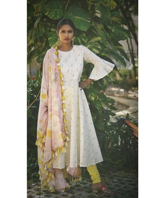 WHITE PASTEL BLING DRESS WITH DUPATTA