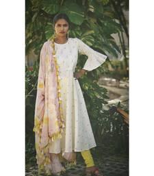 WHITE PASTEL BLING DRESS WITH DUPATTA