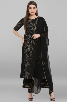 Black printed crepe ethnic kurta set