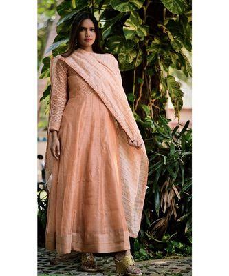 PEACH GOLD CUT DRESS WITH DUPATTA