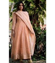 PEACH GOLD CUT DRESS WITH DUPATTA