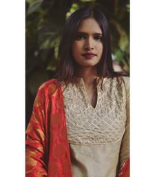 GOLD BEIGE KURTA WITH DUPATTA