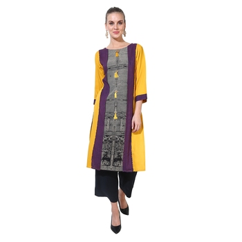 Yellow printed rayon ethnic kurtis