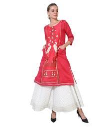 Pink printed cotton ethnic kurtis