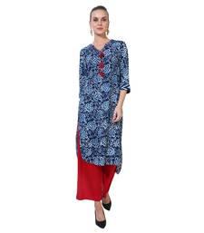 Blue printed polyester ethnic kurtis