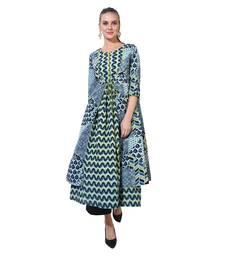 Green printed polyester ethnic kurtis