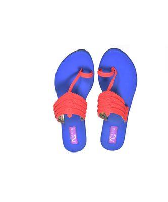 blue and red kolhapuri