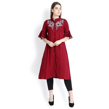 Maroon embroidered rayon kurtas and kurtis