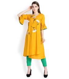 Mustard embroidered rayon kurtas and kurtis