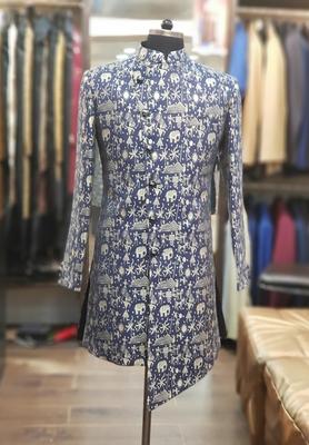 Blue printed jacquard sherwani