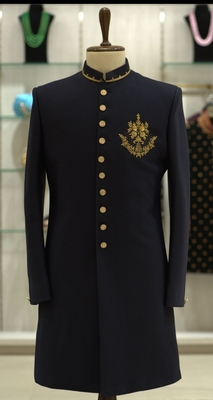 Blue embroidered viscose rayon sherwani