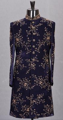 Blue embroidered velvet sherwani