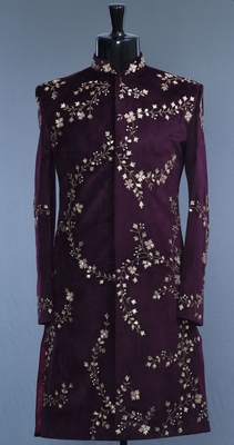 Maroon embroidered velvet sherwani