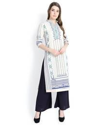 White printed cotton kurtas and kurtis