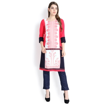 Peach printed rayon kurtas and kurtis