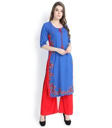 Blue embroidered rayon kurtas and kurtis