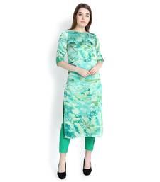 Green printed crepe kurtas and kurtis